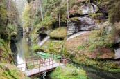 Thumbnail image of Edmund Gorge on the Kamenice River – upper landing stage for boat trips through the gorge, Hrensko,