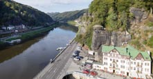 Thumbnail image of view over the Elbe between Hrensko and Schona in Germany, Bohemian Switzerland, Hrensko, Usti nad La
