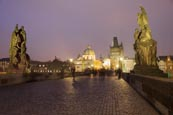 Thumbnail image of The Charles Bridge at night with Old Town Bridge Tower and statues, Prague, Czech Republic