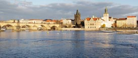 Thumbnail image of View of the Charles Bridge with the Vlatva River and the Old Town, Prague, Czech Republic