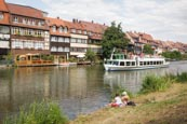 Thumbnail image of Little Venice, former fishermans district,  with tourist boat on the Regnitz River, Bamberg, Bavaria