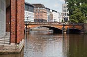 Thumbnail image of Alsterfleet with Heiligengeistbrücke and passageway, Hamburg, Germany