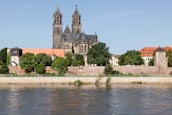 Thumbnail image of River Elbe with the Cathedral and Fürstenwall, Magdeburg, Saxony Anhalt, Germany