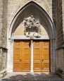 Thumbnail image of St Martins Church – entrance with figure of St Martin above, Halberstadt, Saxony Anhalt, Germany