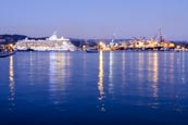 Thumbnail image of La Spezia Harbour, container port and cruise ship Royal Caribbean, Liguria, Italy