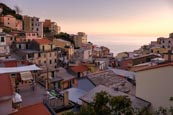 Thumbnail image of view over the town with its colourful houses in Riomaggiore, Cinque Terre, Liguria, Italy