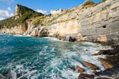 Thumbnail image of Coastline at Porto Venere with the view up to the Castle Doria and the Byron Grotto, Porto Venere, L