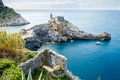 Thumbnail image of view over Porto Venere with the Church of St. Peter and Byron Grotto, Liguria, Italy