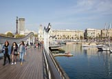 Thumbnail image of Rambla de Mar with view to Mirador de Colom, Barcelona, Catalonia, Spain